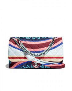 Chanel Multicolor Printed Fabric Foulard Large Flap Bag