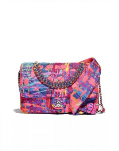 Chanel Multicolor Printed Fabric Foulard Small Flap Bag