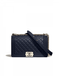 Chanel Navy Blue Boy Chanel Old Medium Flap Bag