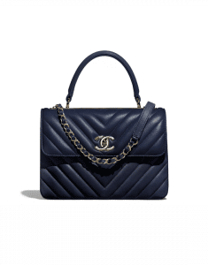 Chanel Navy Blue Chevron Trendy CC Small Top Handle Bag