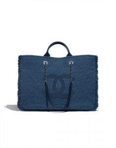 Chanel Navy Blue Fabric Double Face Large Tote Bag