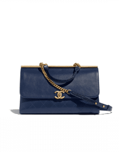 Chanel Navy Blue Lambskin/Lizard Coco Luxe Top Handle Bag