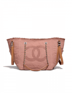 Chanel Pink Fabric Double Face Small Shopping Bag