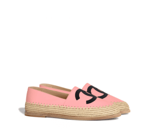 Chanel Pink/Black Lambskin/Grosgrain Espadrilles