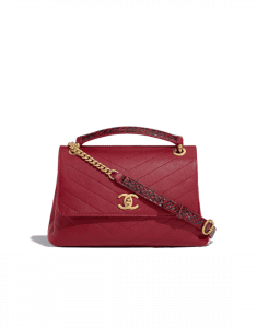 Chanel Red Calfskin/Elaphe Chevron Chic Small Top Handle Bag