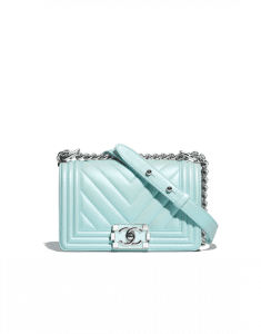 Chanel Turquoise Metallic Lambskin Chevron Boy Chanel Small Flap Bag