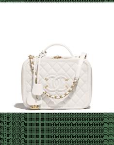 Chanel White CC Filigree Large Vanity Case Bag