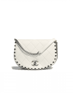 Chanel White Metallic Bubble Small Flap Bag