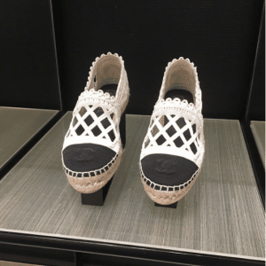 Chanel White/Black Fabric/Grosgrain Perforated Espadrilles 2