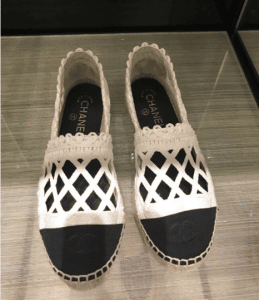 Chanel White/Black Fabric/Grosgrain Perforated Espadrilles 3