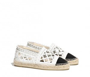 Chanel White/Black Fabric/Grosgrain Perforated Espadrilles