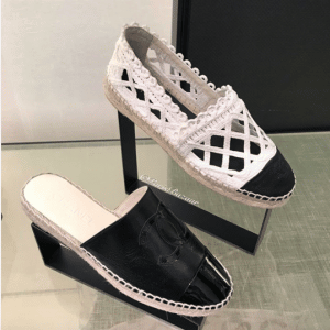 Chanel White/Black Fabric/Grosgrain Perforated Espadrilles and Black Espadrille Slides