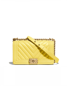 Chanel Yellow Chevron Boy Chanel Old Medium Flap Bag