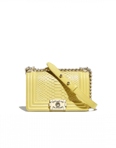 Chanel Yellow Python Boy Chanel Small Flap Bag