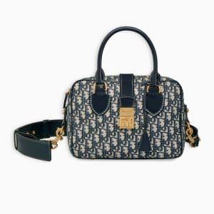 Dior Blue Oblique Signature Canvas Bowling Bag