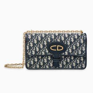Dior Blue Oblique Signature Canvas Chain Flap Bag
