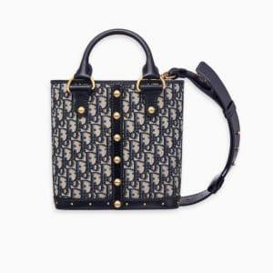 Dior Blue Oblique Signature Canvas Small Dioravenue Bucket Bag