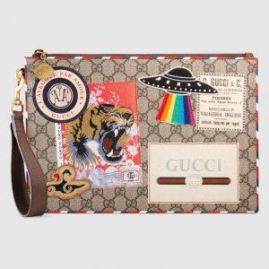 Gucci Beige/Ebony GG Supreme Gucci Courrier Pouch Bag