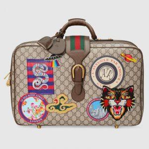 Gucci Beige/Ebony GG Supreme Gucci Courrier Suitcase Bag