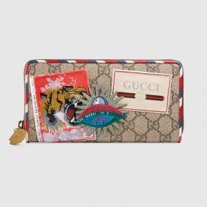 Gucci Beige/Ebony GG Supreme Gucci Courrier Zip Around Wallet