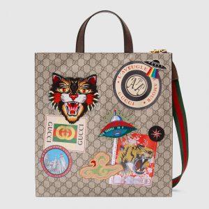 Gucci Beige/Ebony Soft GG Supreme Gucci Courrier Tote Bag