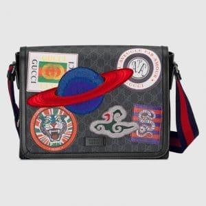 Gucci Black/Grey GG Supreme Night Courrier Flap Messenger Bag