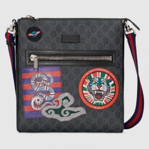 Gucci Black/Grey GG Supreme Night Courrier Messenger Bag
