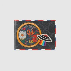 Gucci Black/Grey GG Supreme Night Courrier Wallet