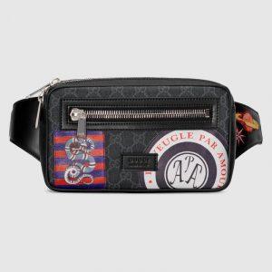 Gucci Black/Grey Soft GG Supreme Night Courrier Belt Bag