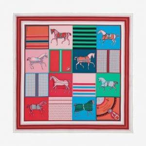 Hermes Couvertures Nouvelles Silk Twill Pocket Square 45
