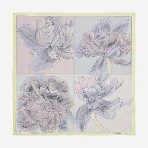 Hermes Etude Pour un Iris Arc-en-Ciel Silk Twill Pocket Square 45