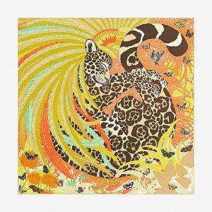 Hermes Jaguar Quetzal Silk Twill Scarf 90