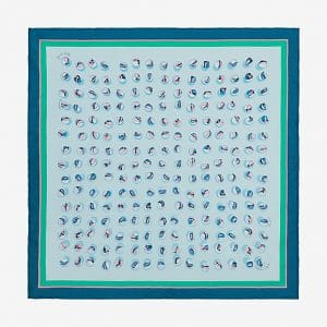 Hermes Jeu de Billes Silk Twill Pocket Square 45