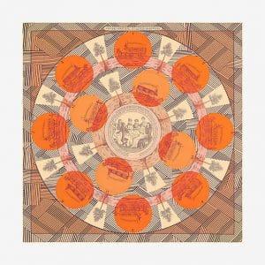 Hermes Jeu des Omnibus Remix Silk Twill Scarf 90