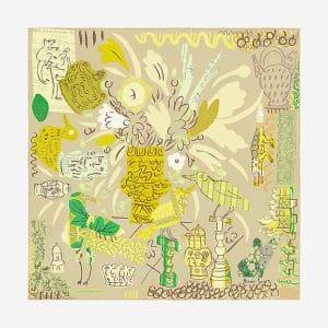Hermes La Maison des Oiseaux Parleurs Silk Twill Scarf 90