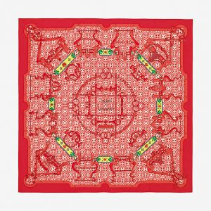 Hermes Mors et Gourmettes Remix Silk Twill Scarf 90
