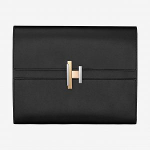 Hermes Noir Villandry Calfskin Cinhetic Clutch Bag