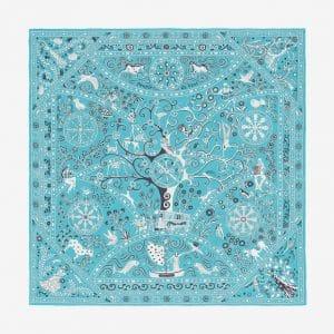 Hermes Peuple du Vent Bandana Silk Chiffon Shawl 140