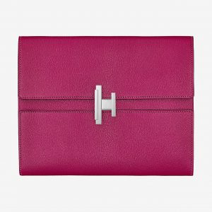 Hermes Rose Pourpre Mysore Goatskin Cinhetic Clutch Bag