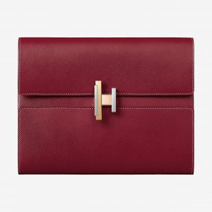Hermes Rubis Villandry Calfskin Cinhetic Clutch Bag
