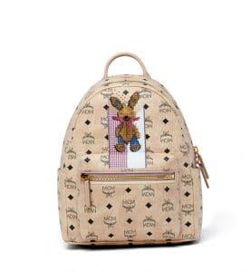 MCM Beige Studded Rabbit Stark Backpack Bag