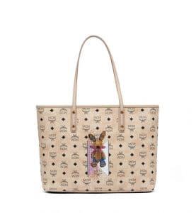MCM Beige Studded Rabbit Top Zip Shopper Bag