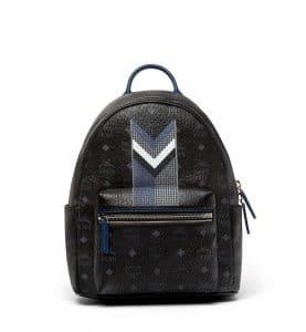 MCM Black Chevron Stripe Visetos Stark Backpack Bag
