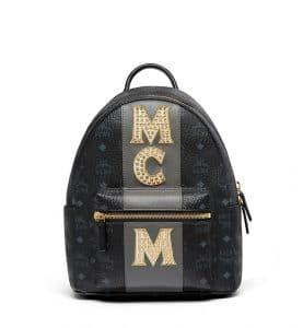 MCM Black Stripe Studs Visetos Stark Backpack Bag