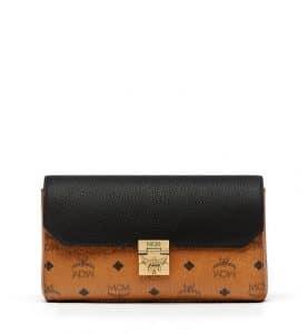 MCM Black Visetos Leather Block Milie Flap Crossbody Bag