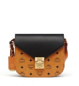 MCM Black Visetos Leather Block Patricia Shoulder Bag