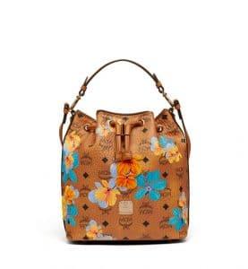 MCM Cognac Floral Print Visetos Essential Drawstring Bag