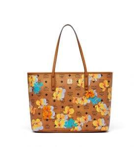 MCM Cognac Floral Print Visetos Essential Top Zip Shopper Bag