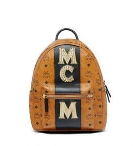MCM Cognac Stripe Studs Visetos Stark Backpack Bag