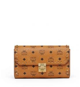 MCM Cognac Studded Outline Visetos Patricia Flap Crossbody Bag